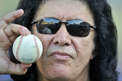 Gene Simmons before throwing out the first pitch before a Dodger game vs the New York Mets. The Dodgers lost to the Mets 6-0 in a game played at Dodger Stadium in Los Angeles, Ca 7-5-2011. (John McCoy/Staff Photographe