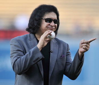 Gene Simmons threw out the first pitch in a Dodger game vs the New York Mets. The Dodgers lost to the Mets 6-0 in a game played at Dodger Stadium in Los Angeles, Ca 7-5-2011. (John McCoy/Staff Photographer)