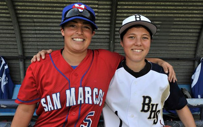 San Marcos pitcher Ghazaleh Sailors, left, and Birmingham High Pitcher Marti Sementelli have the distinct honor of breaking down one of baseball's gender barriers, becoming the first females to start against each other in a high school baseball game. Birmingham Sementelli pitched her way to a 6-1 victory.  (John McCoy/staff photographer)