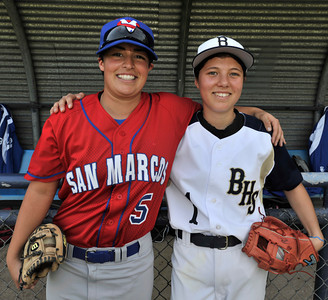 (l-r) San Marcos Pitcher Ghazaleh Sailors and Birmingham High Pitcher Marti Sementelli have the distinct honor of breaking down one of baseballÕs gender barriers, becoming the first females to start against each other in a high school baseball game. Birmingham Sementelli pitched her way to a 6-1 victory. Van Nuys, CA. 3-5-2011. (John McCoy/staff photographer)
