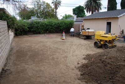 Everything's flattened out and ready for landscaping in the space formerly occupied by a pool in Phil and Cil Rivera's Granada Hills backyard.