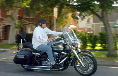 Grady Little, Dodger manager, rides his motorcycle in the streets of Pasadena, Ca., on Wednesday, June 13, 2007.  (Tina Burch/Staff photographer)