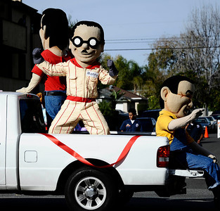Pep boys Manny, Moe and Jack make their way down during the annual Granada Hills christmas parade along Chatsworth blvd. Dec 4,2011. Photo by Gene Blevins/LA Daily News