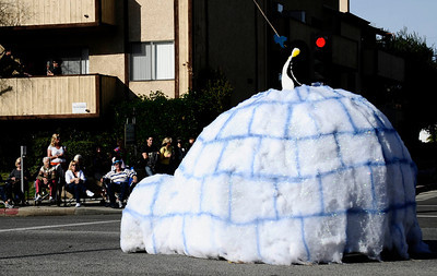 Hillcrest christian high igloo float makes it's way down during the annual Granada Hills christmas parade along Chatsworth blvd. Dec 4,2011. Photo by Gene Blevins/LA Daily News