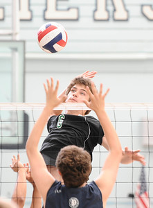Granada Hills #6 Sean Greene makes a spike at the net, as they play Palisades high during CIF Championship game. May 21,2011. photo by Gene Blevins/LA Daily News