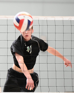 (R) Granada Hills #17 Ryan Sikorsky spikes the ball at the net, as they play Palisades high during CIF Championship game. May 21,2011. photo by Gene Blevins/LA Daily News