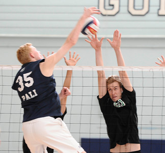 (R) Granada Hills #21 Robert Docter makes a block at the net, as they play Palisades high during CIF Championship game. May 21,2011. photo by Gene Blevins/LA Daily News