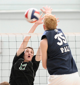 Granada Hills #17 Ryan Sikorsky tries to block the ball at the net, as they play Palisades high during CIF Championship game. May 21,2011. photo by Gene Blevins/LA Daily News