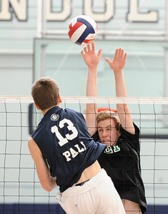 Granada Hills #21 Robert Docter makes a block at the net, as they play Palisades high during CIF Championship game. May 21,2011. photo by Gene Blevins/LA Daily News