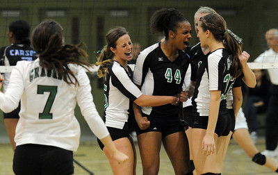 Granda Hills players react during the CIF Los Angeles City Section Division I Girls Volleyball Championship against Carson at the Roybal Learning Center Saturday, November 20, 2010 in Los Angeles, CA. (Hans Gutknecht/Staff Photographer)