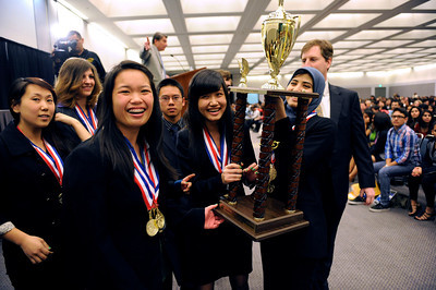 Granda Hills High School celebrates their win during the LAUSD Academic Decathlon Awards ceremony at the Los Angeles Convention Center in Los Angeles February 9, 2012. (Hans Gutknecht/Staff Photographer)