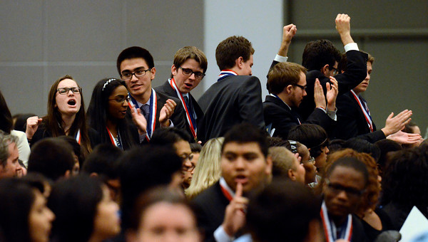 El Camino High School reacts after wining third place during the LAUSD Academic Decathlon Awards ceremony at the Los Angeles Convention Center in Los Angeles February 9, 2012. (Hans Gutknecht/Staff Photographer)