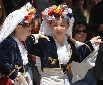 Wearing old world Greek costume, Chrysopeda & Leventopoula Dancers put on a show at the 36th Annual Valley Greek Festival being held at St. Nicholas Church, 9501 Balboa Blvd. in Northridge. Officials at the festival expect an attendance of over 50,000 durning the 3-day event. The admission-free fundraiser is the largest festival of its kind in the area and features Greek live music, dancing, gourmet food, homemade pastries, cooking demonstrations, children's activities, a Greek market, and a variety of shopping boutiques. Northridge, CA 5/29/2010. photo by John McCoy/staff photographer