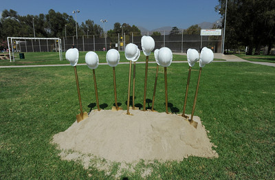Shovels stand ready to break ground. Los Angeles County Supervisor Zev Yaroslavsky and the Los Angeles County Department of Parks and Recreation held a groundbreaking ceremony for a state-of-the-art $11.5-million gymnasium and community center at El Cariso Park in Sylmar. The anticipated completion date for the new facility is late in 2012. Sylmar, CA. 10/15/2011(John McCoy/Staff Photographer)