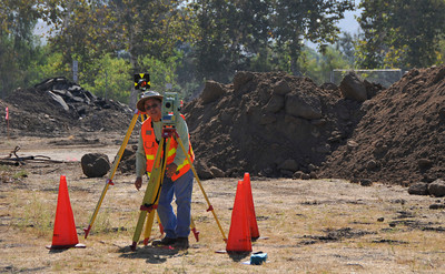 A surveyor works in the area of the future Hansen Dam Ranger Station where officials held a groundbreaking ceremony.  The Hansen Dam Ranger Station, which was made possible by Prop K Funding, will be approximately 4000 Sq. Ft. and will provide a visitor center for the public, offices for the Rangers, restroom, storage area for ATV's, and new chain link fencing. Lakeview Terrace, CA 9/02/2010 (John McCoy/staff photographer)