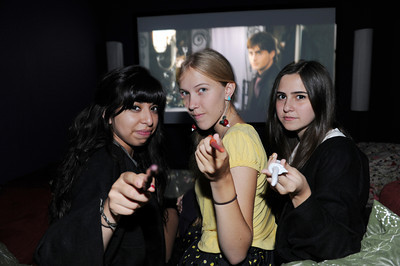 Jennifer Escobar, 16-years-old, Kelse Whitfield, 16-years-old, and Jocelyn Vallejos, 15-years-old, will be watching a marathon of Harry Potter movies in preparation for the final movie being released at midnight on Thursday. (Hans Gutknecht/Staff Photographer)