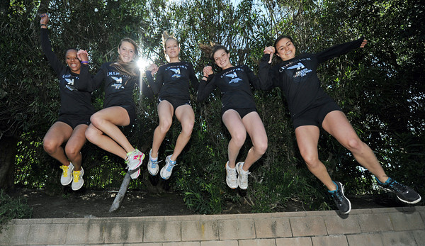 Harvard-Westlake runners Hilary King,  Cami Chapus, Lauren Hansson, Amy Weissenbach and K.C. Cord posted the fastest times in the nation this year in both the sprint medley relay and distance medley relay at the Arcadia Invitational. (Hans Gutknecht/Staff Photographer)