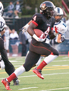 Wolverines senior tailback Jamias Jones scored two touchdowns during Friday's home opener. Harvard-Westlake High School faced Venice High School on Friday, Sept, 2, 2011 in their home opener at Ted Slavin Field in Studio City, Calif. With 2:44 left in the third quarter, the Wolverines have given up a 21-0 lead, with Venice High School up 27-21.  (Maya Sugarman/Staff Photographer)
