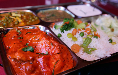 A Chicken Tikka Masala Dinner Special Combo Plate at Heart of India Cafe in Sheman Oaks, CA, priced at $13.99. John Lazar / L.A. Daily News Staff Photographer