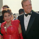 Roseanne Barr and her husband, Tom Arnold, arrive for the 44th Annual Emmy Awards show in Pasadena on Aug. 30, 1992.   The Associated Press