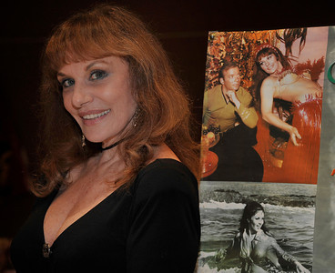Actress Tanya Le Mani  poses with a photo of her famous belly dance scene on the 1960's Star Trek with William Shatner,  during the Hollywood Xpo in the Hilton hotel at Universal City. The colorful three day event features appearances by Over 100 Stars, Reunions, Screenings & More. For more info on the event go to www. hollywoodxpo.com. Oct 15,2010. Photo by Gene Blevins/LA Daily News