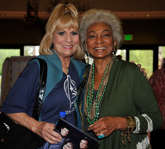 (L-R) Star Trek actresses Grace Lee Whitney and Nichelle Nichols poes together during the Hollywood Xpo in the Hilton hotel at Universal City. The colorful three day event features appearances by Over 100 Stars, Reunions, Screenings & More. For more info on the event go to www. hollywoodxpo.com. Oct 15,2010. Photo by Gene Blevins/LA Daily News