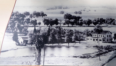 View of Rancho El Encino from a 1945 photo. Los Encinos State Historic Park is one of 70 state parks threatened with closure because of state budget cuts.  A task force organized by state Sen. Fran Pavley that wants to save the park recently got a reprieve in the form of a $150,000 anonymous donation. That will keep the park open for another year after it was set to close this summer. But the park still needs money to remain open after that as the state budget crisis continues. Encino, CA 1/7/2012(John McCoy/Staff Photographer)