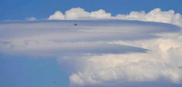 Monsoon moisture caused huge clouds to form over the Angeles National Forest looking from over the San Fernando Valley.  July 14,2010.  Photo by Gene Blevins/LA Daily News