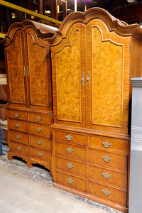 A Drexel Heritage burled walnut armoire from the The Peninsula Beverly Hills hotel at Hotel Surplus Outlet in Van Nuys. Hotel Surplus Outlet specializes in surplus hotel furniture and overstocked new furniture from manufacturers. (Hans Gutknecht/Staff Photographer)