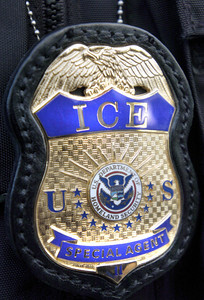 "The badge worn by Immigration and Customs Enforcement agents called, ""ICE"" which are under the U.S. Department of Homeland Security.  (Tina Burch/Staff Photographer)"