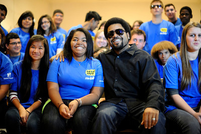 Ice Cube sits next to his daughter Kareema Jackson and students at his alma mater Taft High School Monday. October 3, 2011. Along with Ice Cube's appearance there was a presentation of a $5,000 donation on behalf of Best Buy Mobile and the Grammy Foundation to Taft High School in support of the school's music program. (Hans Gutknceht/Staff Photographer)