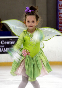 5-year-old Jessica Kemper from Palmdale finishes her skating routine during the Distric 15 Ice Skating Institution Open Championship at the Valley Ice Center in Panorama City, CA. August 10, 2007.  (Ernesto Elizarraraz, Special to the Daily News)