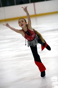 9-year-old Devon Bernsley from Woodland Hills, performs her skating routine during the Distric 15 Ice Skating Institute Open Chamipionships hosted by the Valley Ice Center in Panorama City, CA. August 10, 2007. (Ernesto Elizarraraz, Special to the Daily News)
