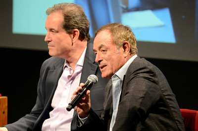 (l-r) Jim Nantz and Al Michaels during a discussion about the 2012 Olympics at USC Thursday, February 16, 2012. (Hans Gutknecht/Staff Photographer)