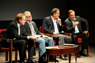 (l-r) USC Annenberg School of Journalism's Jeff Fellenzer, Jim Lampley, Jim Nantz and Al Michaels during a discussion about the  2012 Olympics at USC Thursday, February 16, 2012. (Hans Gutknecht/Staff Photographer)