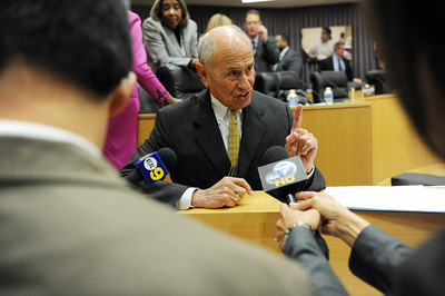 Los Angeles Unified School District Superintendent Ramon Cortines talks to the media after the announcement at LAUSD headquarters that his chief deputy John Deasy will replace him when he retires this spring. (Hans Gutknecht/Staff Photographer)