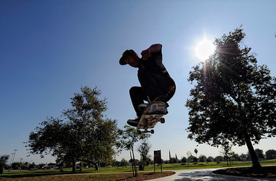Jorge Comelli, 21-years-old, skateboards at Ritchie Valens Skate Park Plaza in Pacoima  Tuesday, November 1, 2011 (Hans Gutknecht/Staff Photographer)