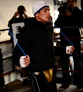 "Champion Juan Manuel Marquez host a Los Angeles media work out at Trinity Boxing Club in preparation for his bout against WBO Interim Lightweight World Champion Michael ""The Great"" Katsidis on November 27 at the MGM Grand Garden Arena in Las Vegas, Nevada. Nov 22, 2010. photo by Gene Blevins/LA Daily news"