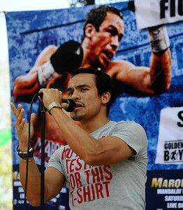 Mexico's pro boxer Juan Marquez arrives in Los Angeles at Olvera st. to meet the fans as he will take on Juan Diaz for a second rematch next weekend in Las Vegas. Los Angeles CA.  July 25,2010 Photo by Gene Blevins/LA DailyNews