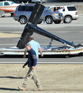 The tail rotor that broke off of KCAL/KCBS' Sky9 helicopter awaits transport on Friday, Nov. 12, 2010, after the craft made a hard landing on the runway at Whiteman Airport in Pacoima. Engine failure has been cited as the cause. (Gene Blevins/Special to the Daily News)