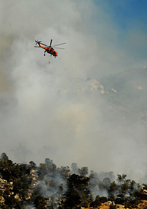 Firefighters battle the Canyon Fire on the second day that is now at 3,500+ acres. The fire is burning along highway 178 west of Lake Isabella in the mountain areas. No evacuations have been order at this time and there is 700 firefighters fighting the fire with 10% containment. Kern County CA. Sept 13,2010. Photo by Gene Blevins/LA Daily News