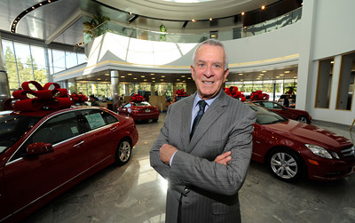 President of Keyes European Llc., Howard Keyes, has opened up a new $35 Million Dollar dealership on Van Nuys Blvd. The new building includes a 3 story open atrium main showroom, with showrooms on two floors. A top level parking area is covered with solar panels. Van Nuys, CA 12/08/2011(John McCoy/Staff Photographer)