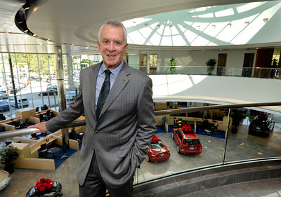 Keyes European Llc. President Howard Keyes has opened up a new $35 Million Dollar dealership on Van Nuys Blvd. The new building includes a 3 story open atrium main showroom, with showrooms on two floors. A top level parking area is covered with solar panels. Van Nuys, CA 12/08/2011(John McCoy/Staff Photographer)