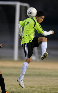 Palmdale#7 Oscar Torres gets a foot on the ball. Knight defeated Palmdale 3-2 in a Golden League boys' soccer match. Palmdale, CA 2/1/2012(John McCoy/Staff Photographer)