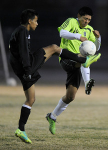 Palmdale#14 Juan Olivares. Knight defeated Palmdale 3-2 in a Golden League boys' soccer match. Palmdale, CA 2/1/2012(John McCoy/Staff Photographer)