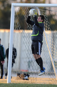 Palmdale#1 Angel Ramirez makes a save. Knight defeated Palmdale 3-2 in a Golden League boys' soccer match. Palmdale, CA 2/1/2012(John McCoy/Staff Photographer)