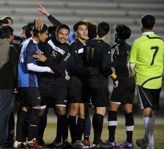 Knight defeated Palmdale 3-2 in a Golden League boys' soccer match. Palmdale, CA 2/1/2012(John McCoy/Staff Photographer)