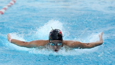 Clevelands Valerie Orellana swims in the 100 yard butterfly during  the LA City Section CIF, All City Swimming Championships that were held at the AAF/John C. Argue Swim Stadium in Los Angeles, CA 5-17-2011. (John McCoy/staff photographer)