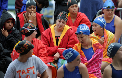 Contestants get ready for their individual heats at the LA City Section CIF, All City Swimming Championships were held at the AAF/John C. Argue Swim Stadium in Los Angeles, CA 5-17-2011. (John McCoy/staff photographer)