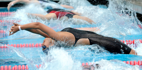Palisades swimmer Soheila Kamjou gets off to a fast start in the girls 200 yard Medley Relay during the LA City Section CIF, All City Swimming Championships were held at the AAF/John C. Argue Swim Stadium in Los Angeles, CA 5-17-2011. (John McCoy/staff photographer)